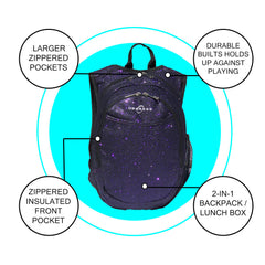 O3KCBP026 Obersee Mini Preschool Backpack for Girls with integrated Insulated Snack Cooler | Sparkle Purple Design