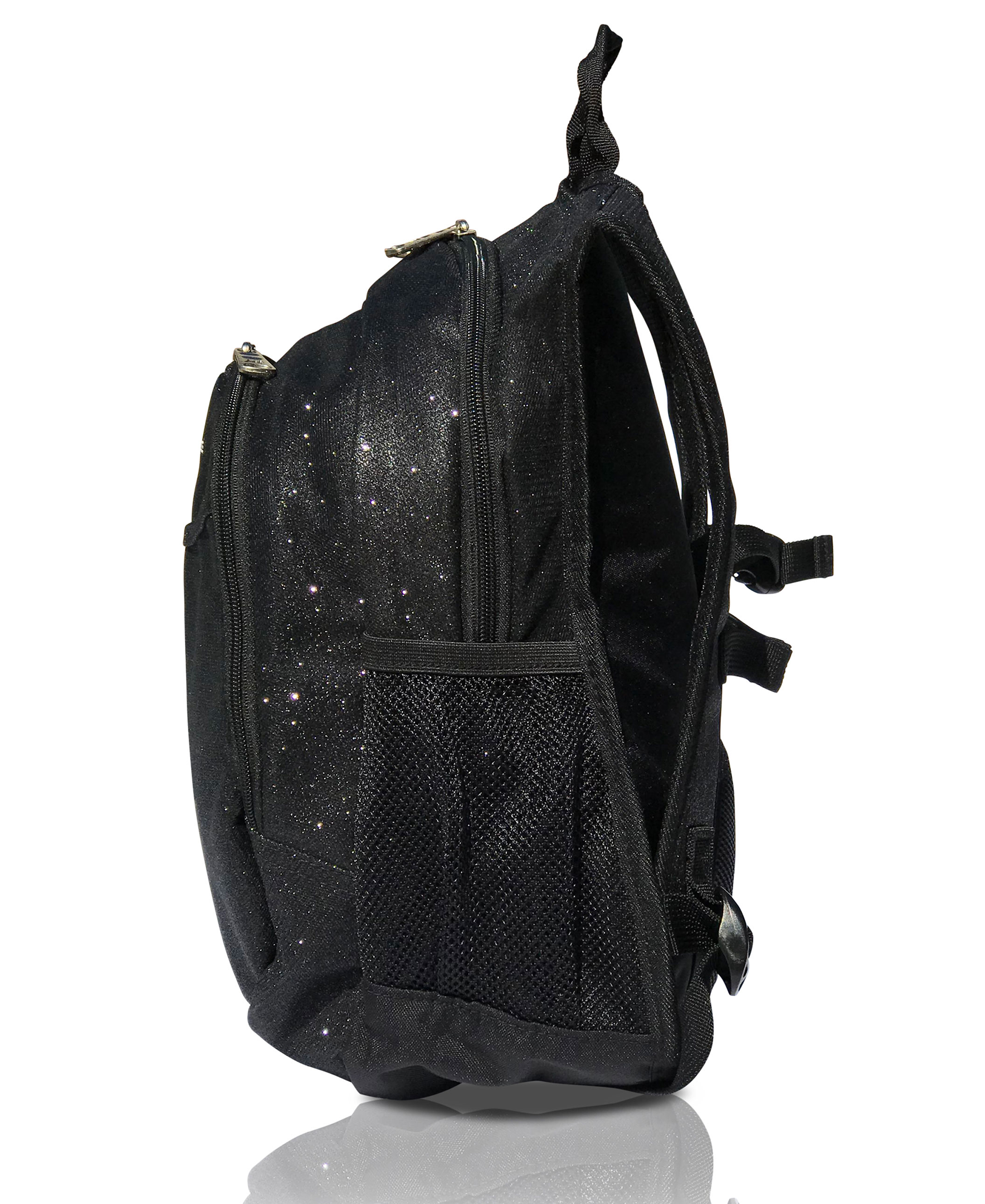 Obersee Mini Preschool Backpack for Girls with integrated Insulated Snack Cooler | Sparkle Black Design