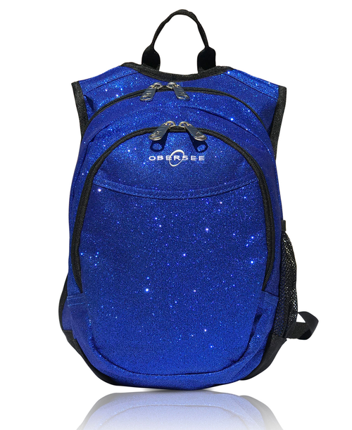 Obersee Mini Preschool Backpack for Girls with integrated Insulated Snack Cooler | Sparkle Blue Design