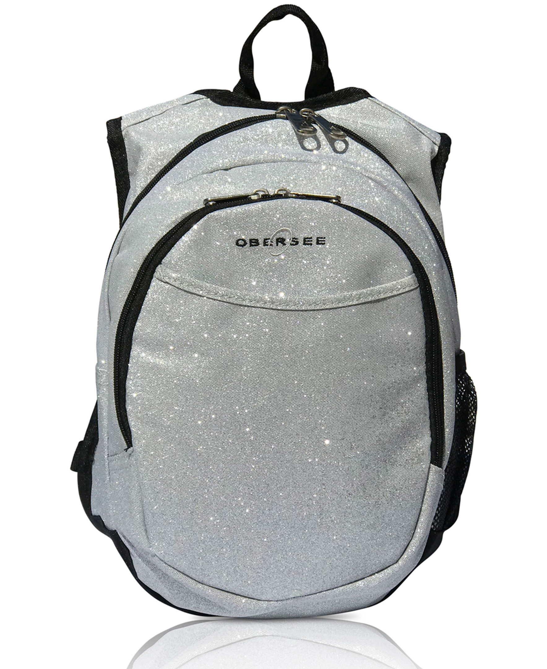 Obersee Mini Preschool Backpack for Girls with integrated Insulated Snack Cooler | Sparkle Silver Design
