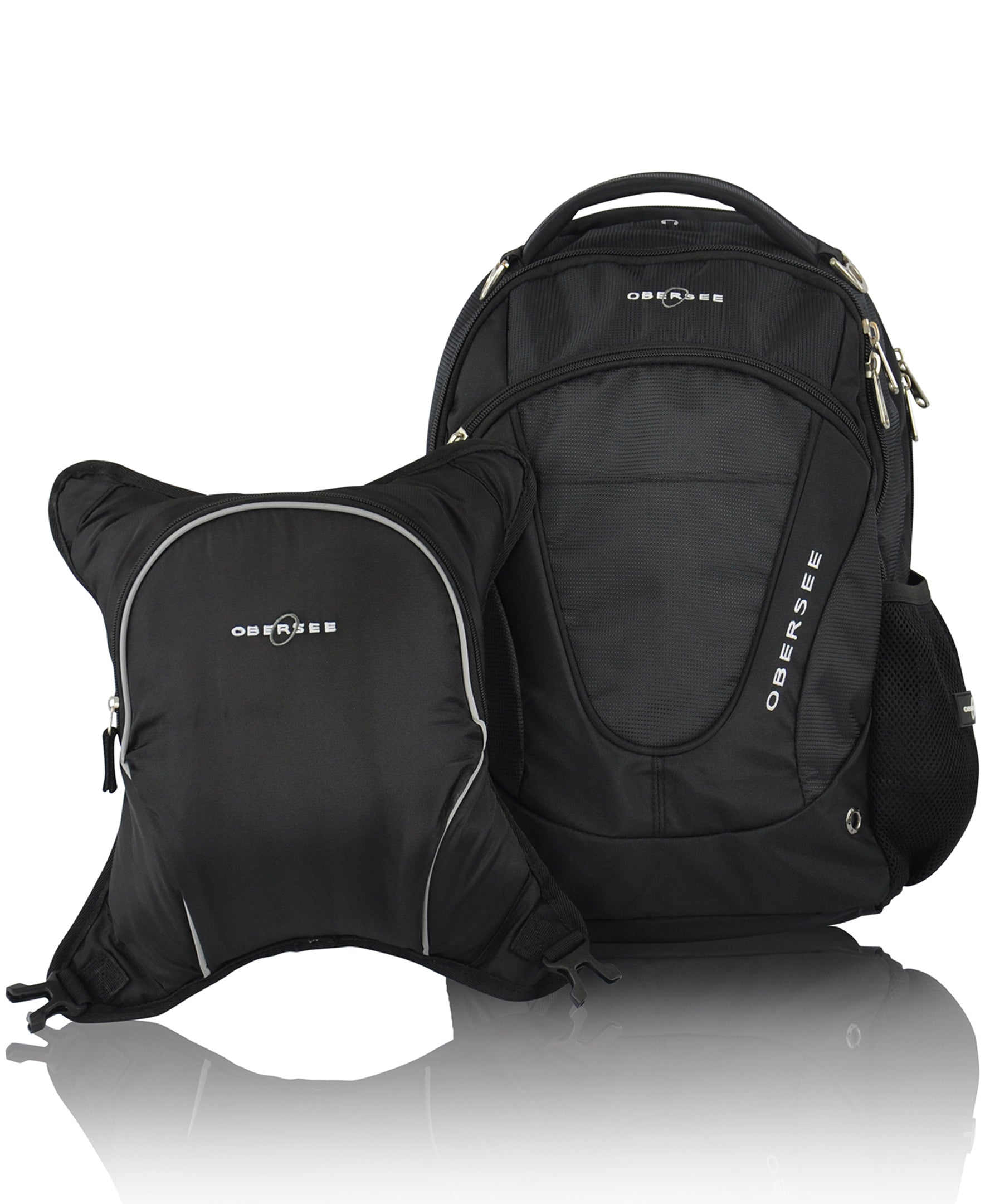 Black//Green Obersee Munich School Backpack with Detachable Lunch Cooler