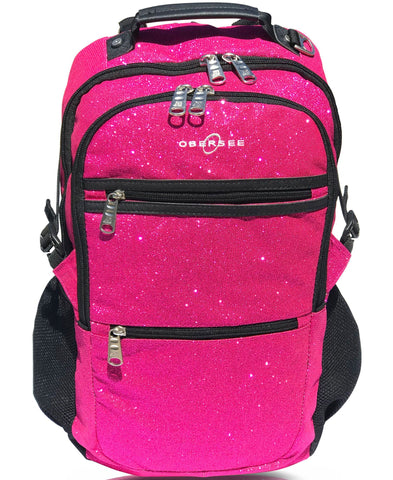 O3KCBP028 Obersee Mini Preschool Backpack for Girls with integrated Insulated Snack Cooler | Sparkle Black Design