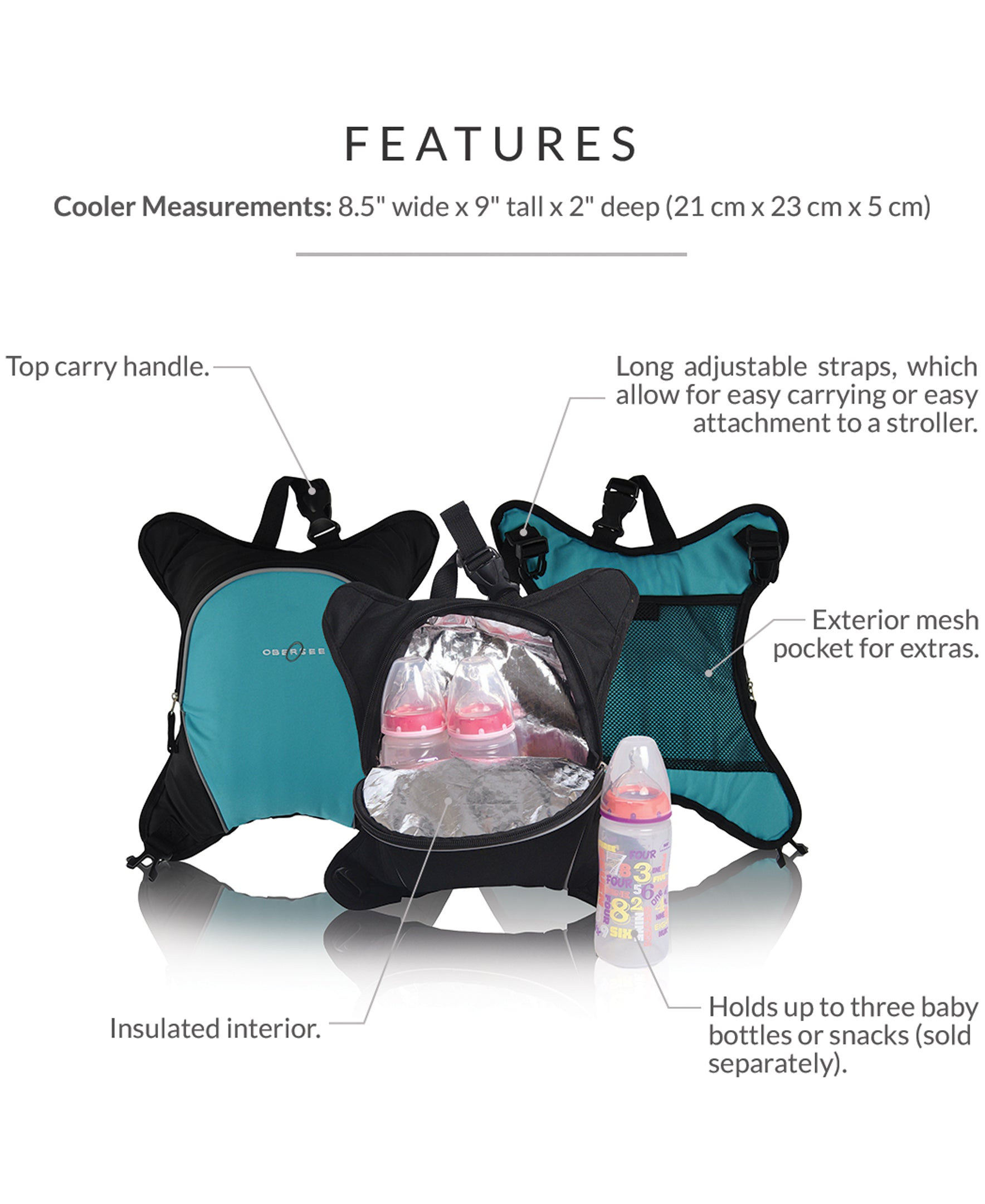 Obersee Rio Diaperbag Backpack | Detachable Bottle Cooler | Large Size Fully Padded Diaper changing mat