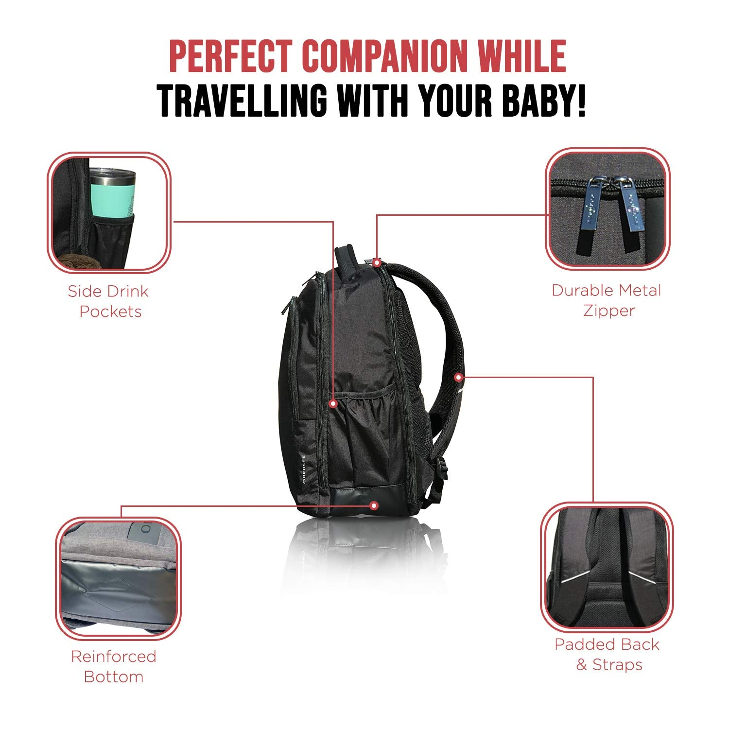 Obersee Prague Baby Diaper Backpack with Changing Pad & Bottle Cooler