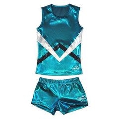 O3CHSET002 - Obersee Cheer Dance Tank and Shorts Set - Green Chevron - Obersee