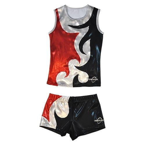 O3CHSET063 - Obersee Cheer Dance Tank and Shorts Set - Mia Red - Obersee