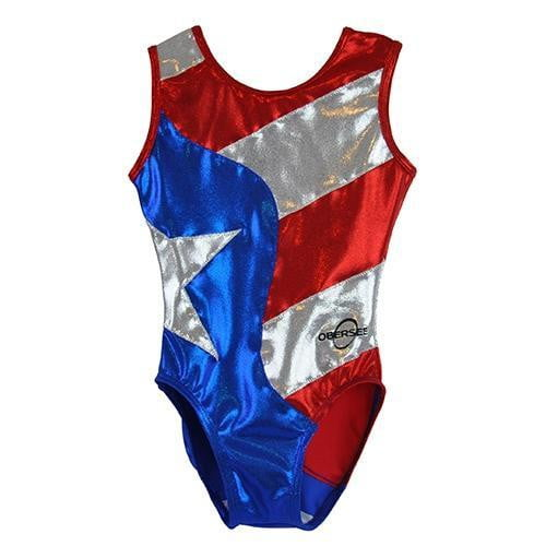 O3GL024 Obersee Girl's Girls Gymnastics Leotard - Flag - Obersee