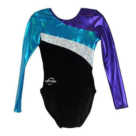O3GL015 Obersee Girl's Girls Gymnastics Leotard - Purple Sun
