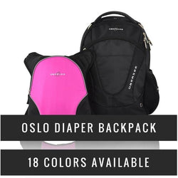 O3OBPCA017 Obersee Oslo Diaper Backpack with Detachable Bottle Cooler - Black