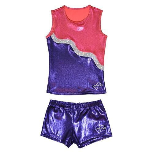 O3CHSET018 - Obersee Cheer Dance Tank and Shorts Set - Purple Ribbon - Obersee