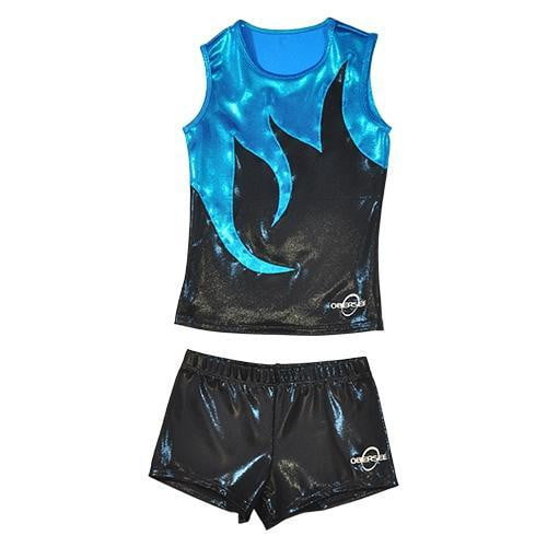 O3CHSET056 - Obersee Cheer Dance Tank and Shorts Set - Black Mist - Obersee