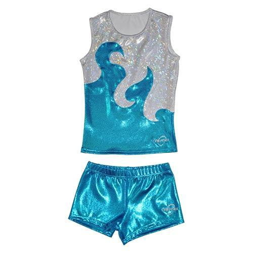O3CHSET004 - Obersee Cheer Dance Tank and Shorts Set - Turquoise Waves - Obersee