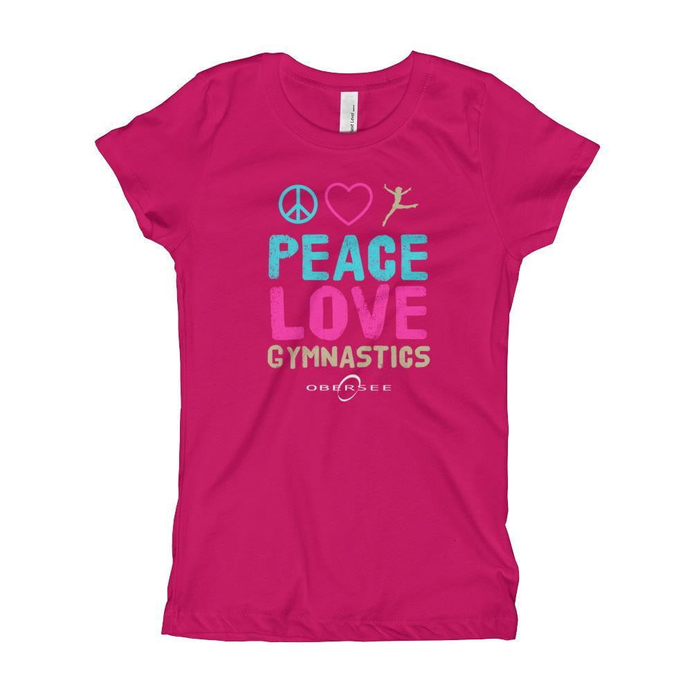 Obersee Gymnastics Girl's Youth T-Shirt - Peace Love Gymnastics