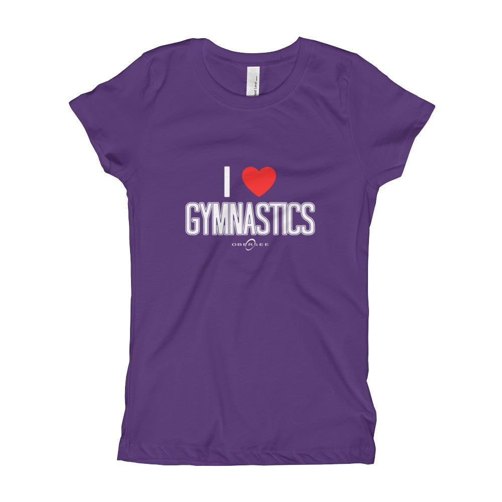 Obersee Gymnastics Girl's Youth T-Shirt - I Love Gymnastics