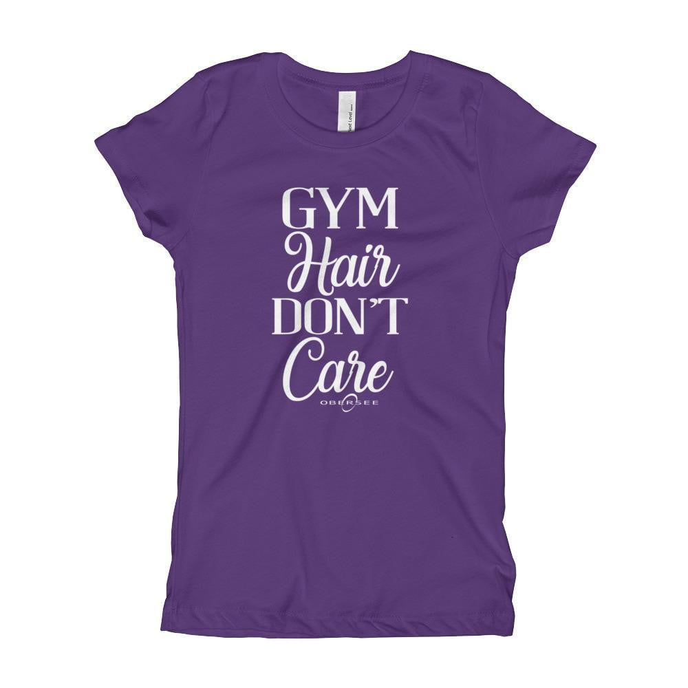 Obersee Girl's Youth T-Shirt - Gym Hair Don't Care - Obersee