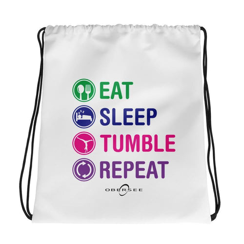 Obersee Drawstring Gym Bag - Eat Sleep Tumble Repeat - Obersee