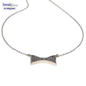 "Swarovski Crystal Magnetic ""Bow"" Pendant Necklace"