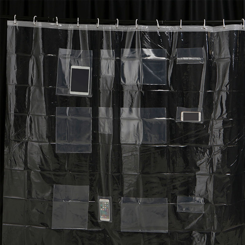 Waterproof Clear Shower Curtain With Pockets