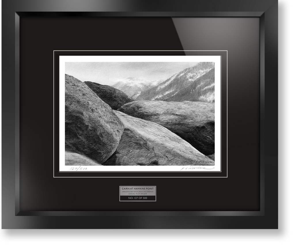 "Framed limited edition print of original Doug Fluckiger drawing ""Cairn at Hawkins Point"""