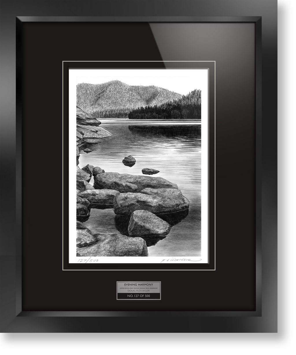 "Framed limited edition print of original Doug Fluckiger drawing ""Evening Harmony"""
