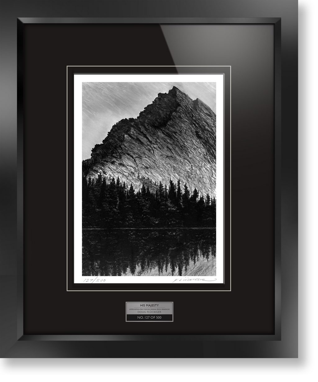 "Framed limited edition print of original Doug Fluckiger drawing ""Homesteader's Monument"""