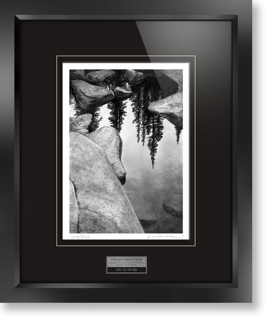 "Framed limited edition print of original Doug Fluckiger drawing ""Twilight Reflections"""