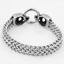 12mm Wide Punk Silver Skull Stainless Steel Bracelets