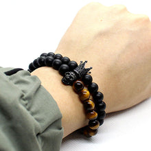 2 Pieces Set Stone Beads Crown Skull Bracelet