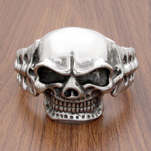 316L Stainless Steel Heavy Biker Cuff Skull Bangle