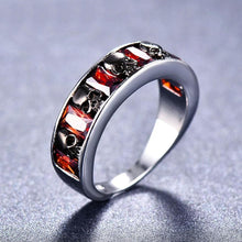 925 Sterling Silver Red AAA Zircon Gothic Black Skull Ring