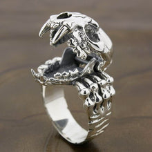 925 Sterling Silver Tiger Tusk Skull Biker Ring