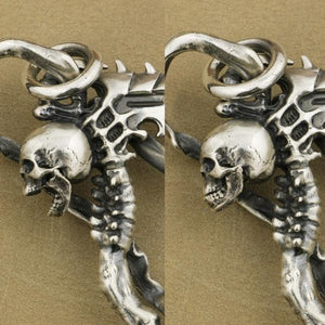 Heavy 925 Sterling Silver Grim Reaper Skull Pendant Necklace