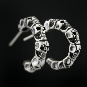 925 Sterling Silver Skull Mens Biker Rocker Earring