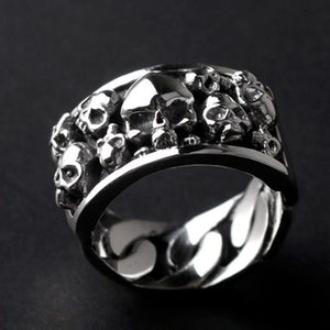 Pure 925 Sterling Silver Rock Biker Skull Rings