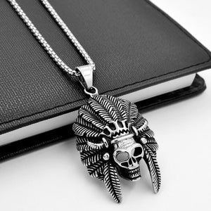 Skull with Feather Hat Headdress Necklace