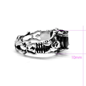 316L Stainless Steel Ladies Cool Black Stone Skull Ring