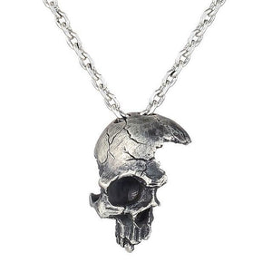 Damaged Half Face Skull Pendant Necklace
