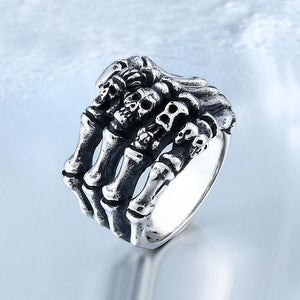 316L Stainless Steel Finger bones Skull Ring