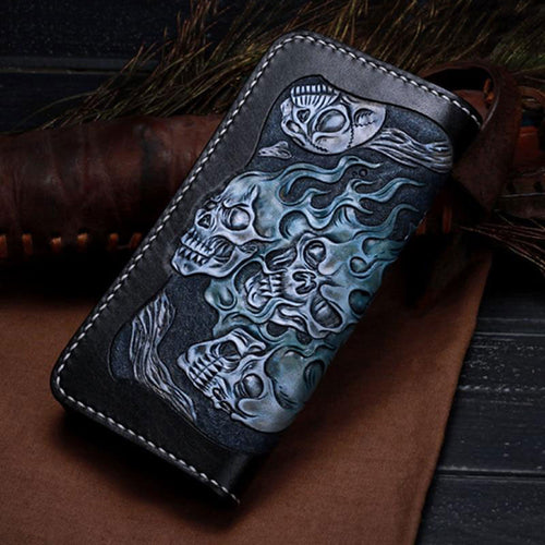 Hand Carving Leather Skull Wallet