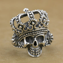 925 Sterling Silver King Skull Crown Biker Ring
