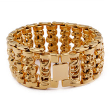 Stainless Steel Huge Heavy Solid Gold Skeleton Skull Bracelet
