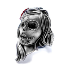 Unique 316L Stainless Steel Flower Sugar Skull Ring