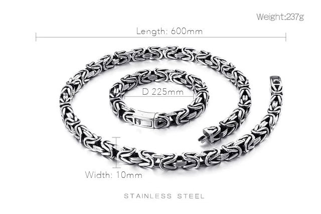 Stainless Steel Byzantine Chain Necklace & Bracelet Set