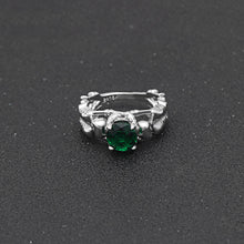 Green Stone Silver Ghost Evil Skull Skeleton Hand CZ Rings