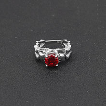 Red Stone Silver Ghost Evil Skull Skeleton Hand CZ Rings
