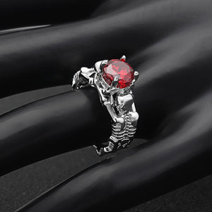 Silver Ghost Evil Skull Skeleton Hand CZ Rings