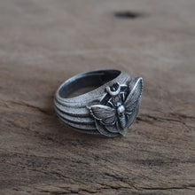 Silver Mystical Moth Dead Head Skull Ring