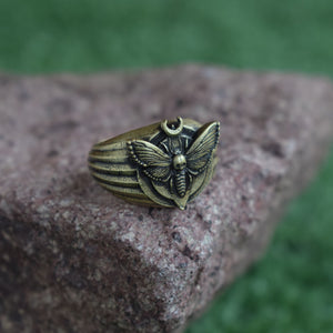 Bronze Mystical Moth Dead Head Skull Ring