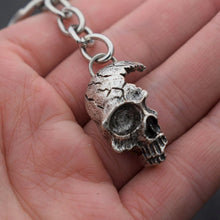 Stainless Steel Damaged Half Face Skull keychain