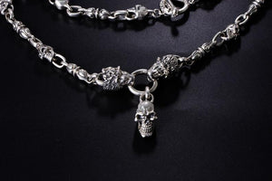 Solid 925 Sterling Silver Double Lion Heads Skull Necklace